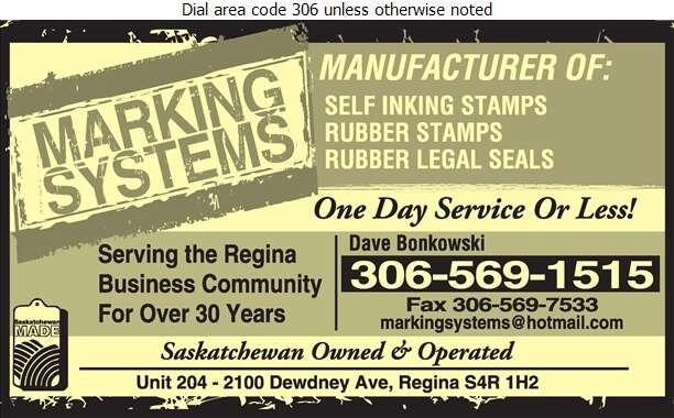 Marking Systems - Rubber & Plastic Stamps Digital Ad