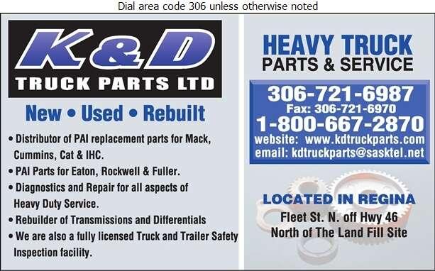 K & D Truck Parts Ltd - Truck Equipment & Parts Digital Ad