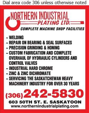 Northern Industrial Plating Ltd - Hydraulic Equipment & Supplies Digital Ad
