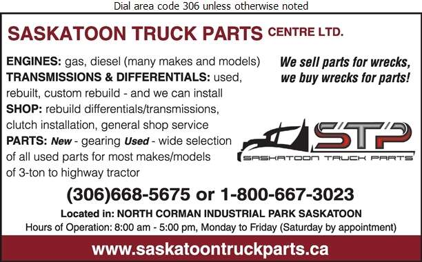 Saskatoon Truck Parts Centre Ltd - Truck Equipment & Parts Digital Ad