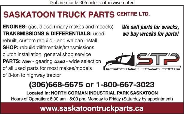 Saskatoon Truck Parts Centre Ltd - Truck Equipment & Parts Digital Ad