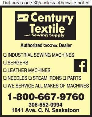 Century Textile & Sewing Supply - Sewing Machines Sales & Service Digital Ad