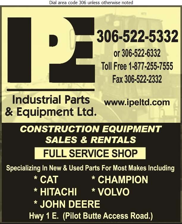 Industrial Parts & Equipment Ltd - Contractors Equipment Supplies & Service Digital Ad