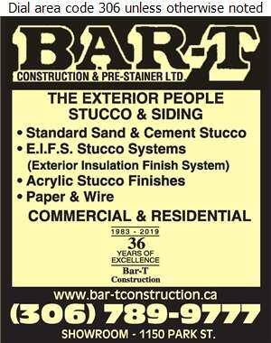 Bar-T Construction & Prestainer Ltd - Stucco Contractors Digital Ad