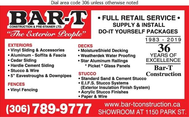Bar-T Construction & Prestainer Ltd - Siding Digital Ad