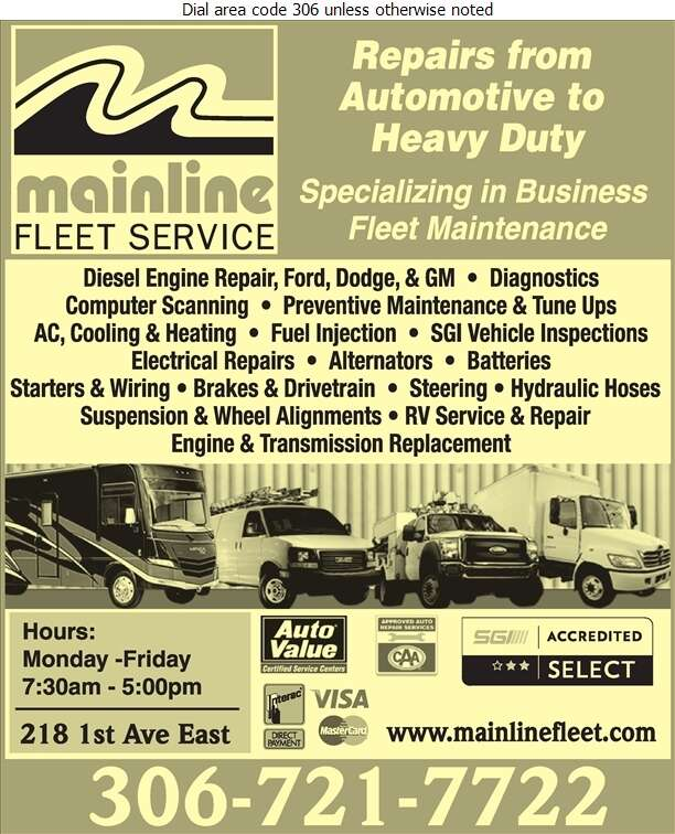 Mainline Fleet Service (Service Department) - Auto Repairing Digital Ad