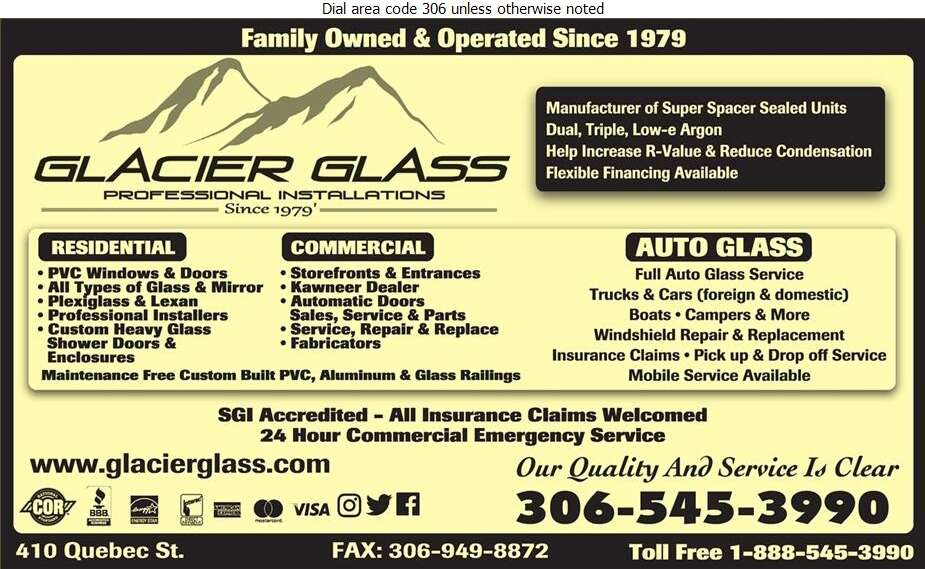 Glacier Glass Service Ltd - Glass Auto, Float, Plate, Window Etc Digital Ad