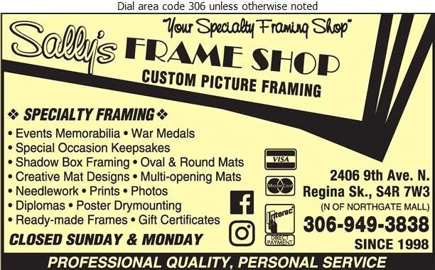 Sally's Frame Shop - Picture Frames Dealers Digital Ad