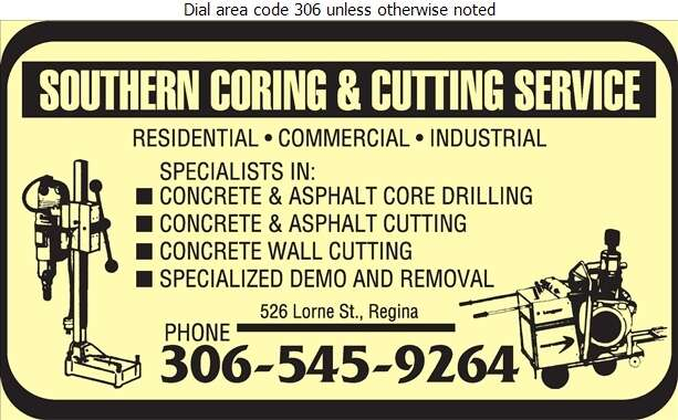 Southern Coring & Cutting Service - Concrete Contractors Digital Ad