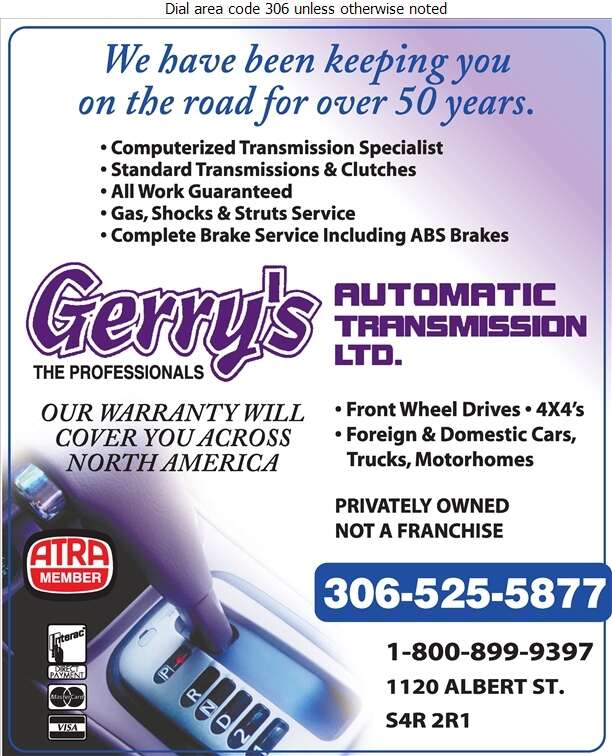 Gerry's Automatic Transmission Ltd - Transmissions Auto Digital Ad