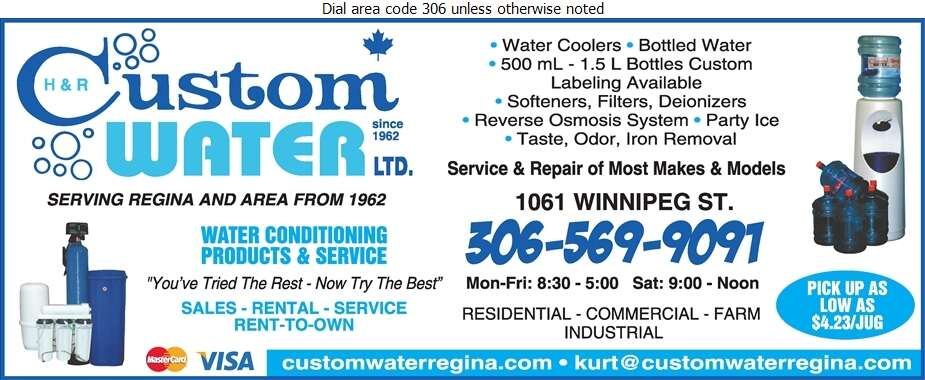 H & R Custom Water Ltd - Water Companies Bottled, Bulk, Etc. Digital Ad