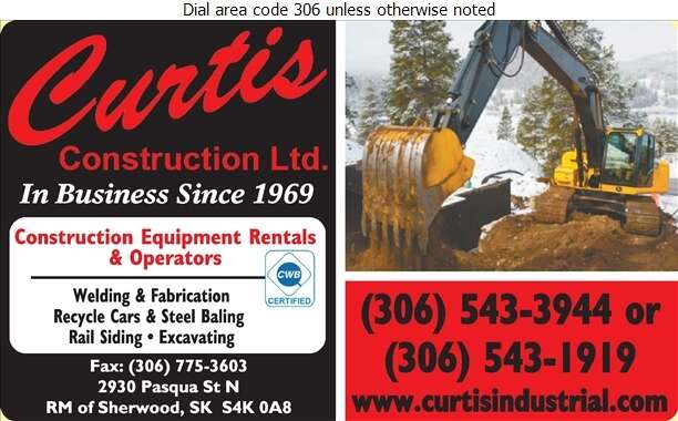 Curtis Construction Ltd - Contractors Equipment Supplies & Service Digital Ad