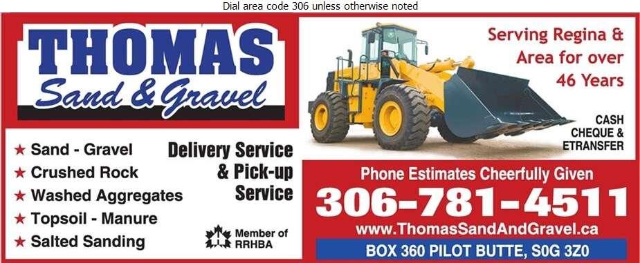 Thomas Sand & Gravel (Located in Pilot Butte) - Sand & Gravel Digital Ad