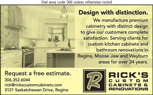 Rick's Custom Cabinets & Renovations Ltd - Cabinet Makers Digital Ad