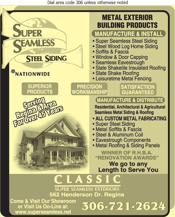 Classic Super Seamless Exteriors Ltd - Siding Digital Ad