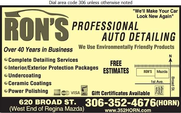 Ron's Professional Auto Detailing - Car Washing & Polishing Digital Ad