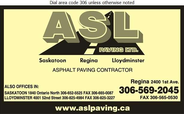ASL Paving Ltd (Fax) - Paving Contractors Digital Ad