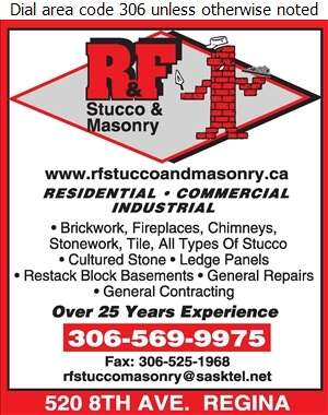 R & F Stucco & Masonry - Brickwork & Masonry Digital Ad