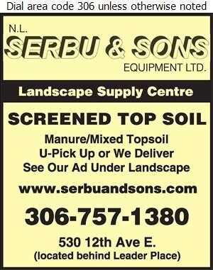 Serbu N L & Sons Equipment Ltd (Robert Serbu) - Top Soil Digital Ad