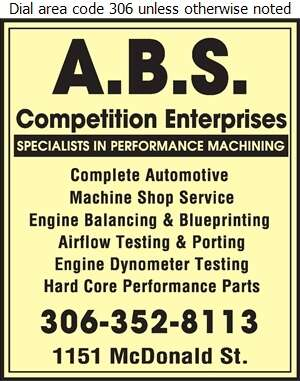 A B S Competition Enterprises - Auto Racing & Sports Car Equipment Digital Ad