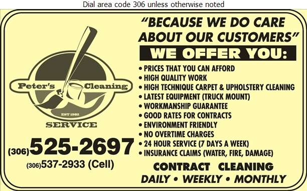 Peter's Cleaning Service Inc - Carpet & Rug Cleaners Digital Ad