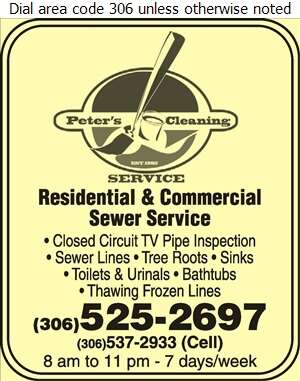 Peter's Cleaning Service Inc - Sewer Contractors Digital Ad