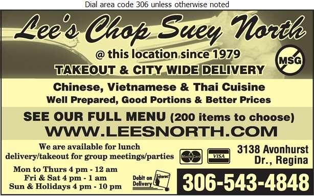 Lee's Chop Suey North - Chinese Foods Digital Ad