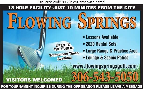Flowing Springs Golf Greens (Regina) Ltd (Condie) - Golf Courses Public Digital Ad