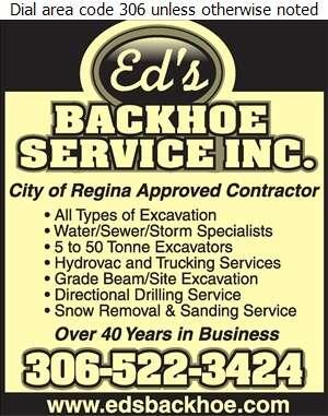 Ed's Backhoe Service Inc - Excavating Contractors Digital Ad