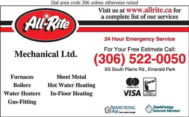 All-Rite Mechanical Ltd (5G South Plains Rd W Emerald Park) - Plumbing Contractors Digital Ad