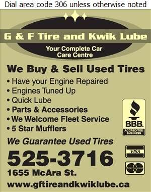 G & F Tires Quick Lube - Tire Dealers Used Digital Ad