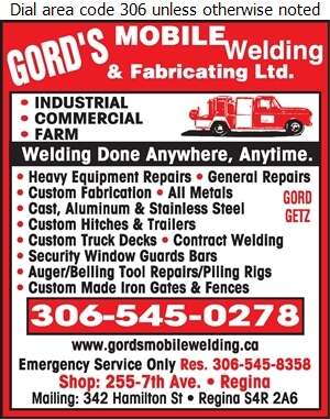 Gord's Mobile Welding & Fabricating Ltd - Welding Digital Ad