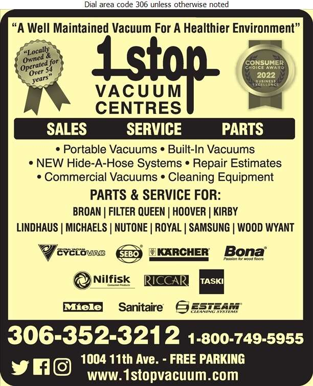 1 Stop Vacuum Centres - Vacuum Cleaners Household Sales & Service Digital Ad