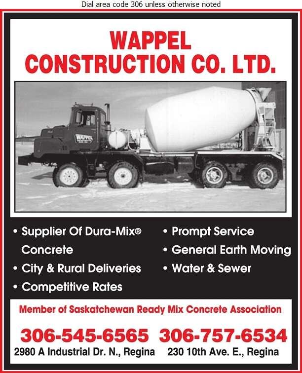 Wappel Construction Co Ltd - Concrete Ready Mixed Digital Ad