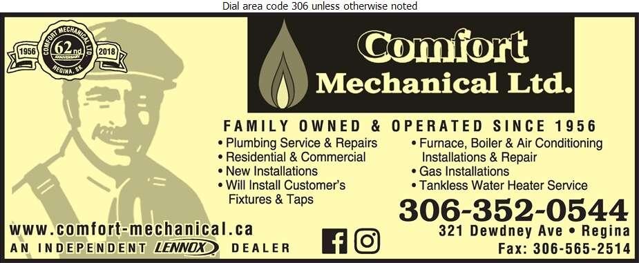 Comfort Mechanical (2012) Ltd - Plumbing Contractors Digital Ad
