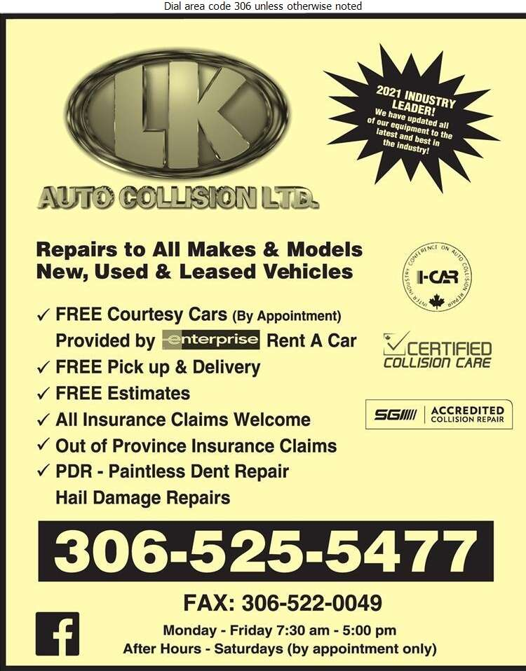 LK Auto Collision Ltd - Auto Body Repairing Digital Ad