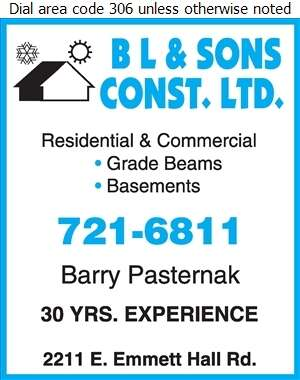 B L & Sons Construction Ltd - Concrete Contractors Digital Ad