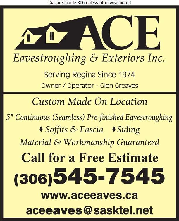 Ace Eavestroughing & Exteriors - Eavestroughing Digital Ad