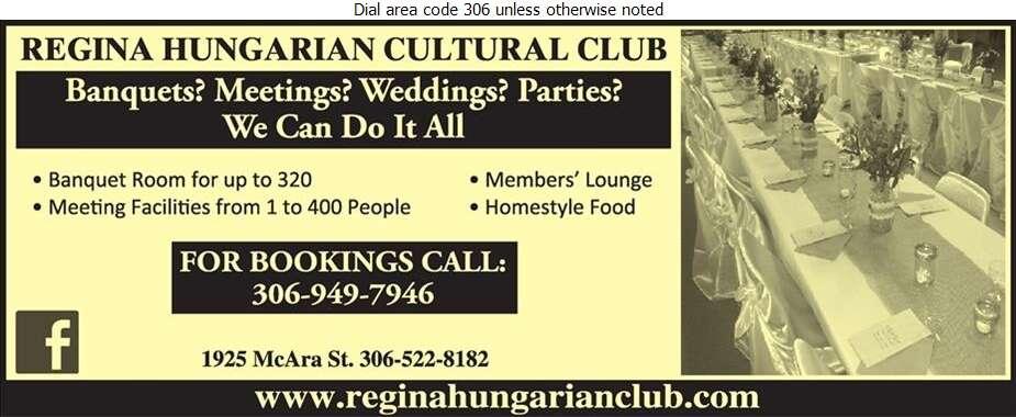 Hungarian Cultural & Social Club (Regina) - Caterers Digital Ad