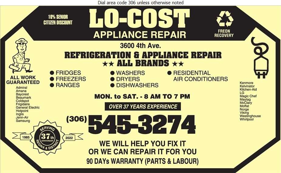 Lo-Cost Appliance Repair - Appliances Major Sales, Service & Parts Digital Ad