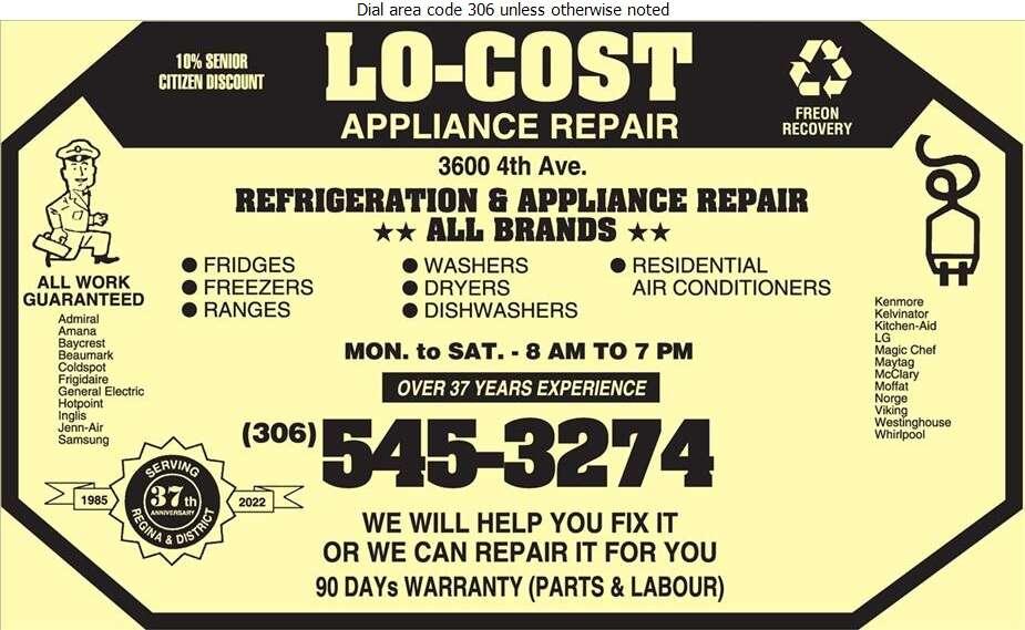 Lo-Cost Appliance Repair - Appliances Major Sales, Service & Parts Digital Ad