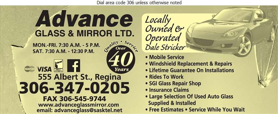 Advance Glass & Mirror Ltd - Windshields Installation Digital Ad