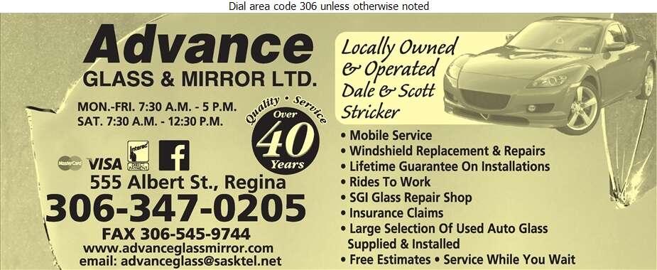 Advance Glass & Mirror Ltd - Windshields Installation Digital Ad
