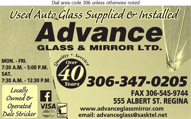 Advance Glass & Mirror Ltd - Auto Wrecking Digital Ad