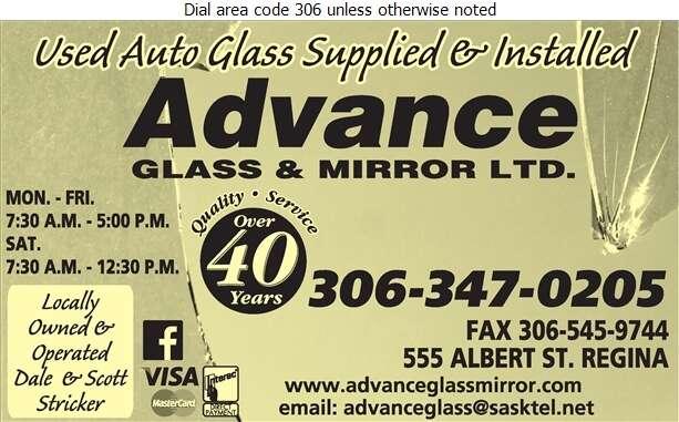Advance Glass & Mirror Ltd - Auto Wrecking Digital Ad
