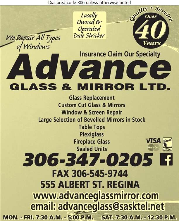 Advance Glass & Mirror Ltd - Windows Digital Ad