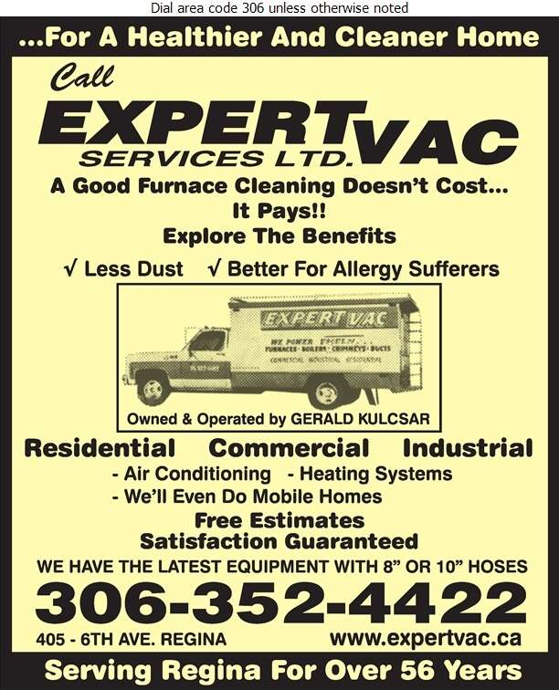 Expert-Vac Services Ltd - Furnaces Cleaning Digital Ad