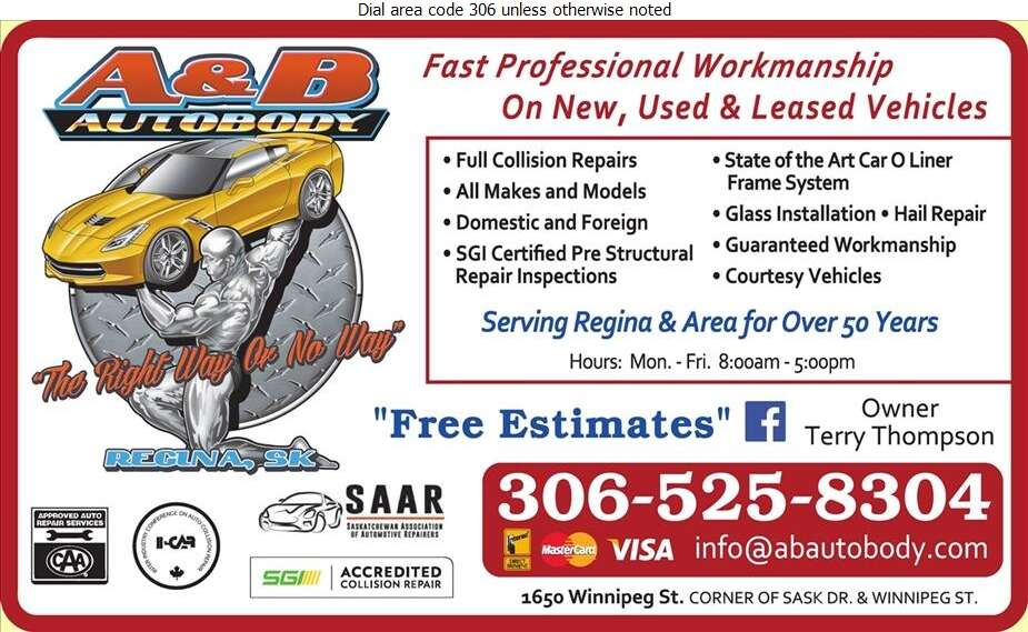 A & B Autobody Ltd - Auto Body Repairing Digital Ad