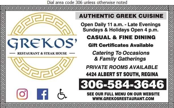 Greko's Restaurant & Steak House - Restaurants Digital Ad