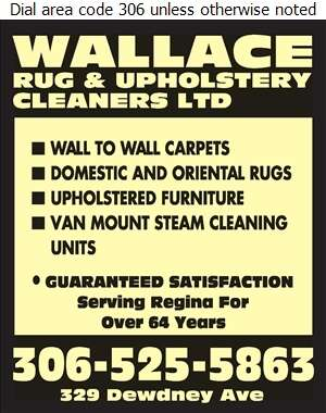 Wallace Rug & Upholstery Cleaners Ltd - Upholstery Cleaners Digital Ad